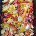 pommes de terre roties et légumes